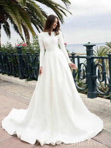 A-line Long Sleeve Backless Wedding Dresses White Satin Princess Wedding Dress SEW058
