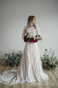 A-line Long Sleeve Rustic Lace Wedding Dresses With Sweep Train Wedding Dress SEW059