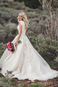 A-line V-neck Lace Rustic Country Wedding Dresses With Short Sleeves SEW063