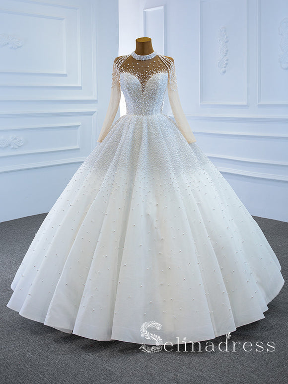 Selinadress High Neck Long Sleeve Beaded Wedding Dress White Luxury Ball Gown Bridal Gowns SPL67198|Selinadress