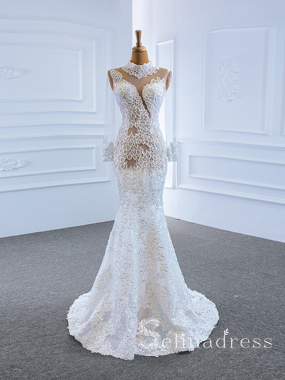 Selinadress Mermaid High Neck Long Sleeve Special Lace Wedding Dress Bridal Gowns SPL67195|Selinadress
