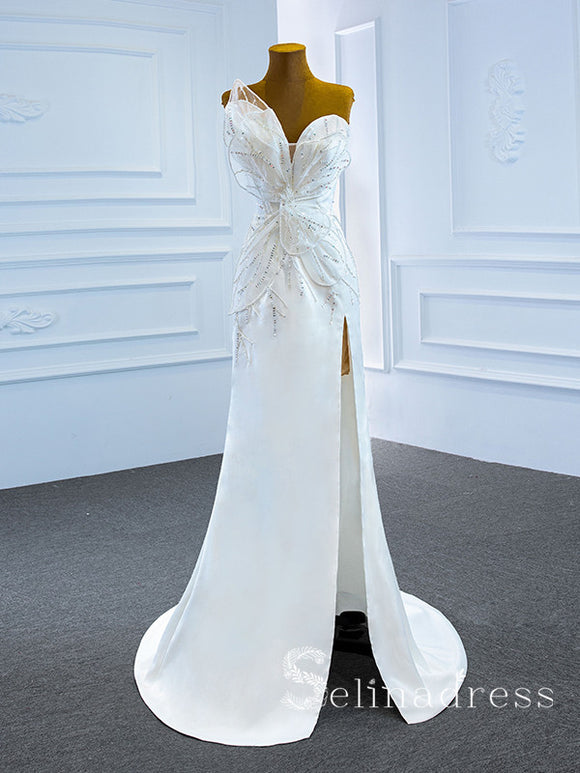 Selinadress Mermaid Strapless Butterfly Decoration Wedding Dress Satin Bridal Gowns SPL67188|Selinadress