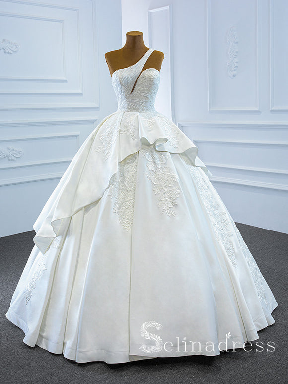 Selinadress One Shoulder Sleeveless Applique Wedding Dress Unique White Ball Gown Bridal Gowns SPL67207|Selinadress