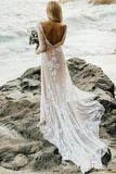 Sheath Rustic Lace Beach Wedding Dress With Long Sleebe Bridal Wedding Dresses SEW069