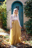 Two Pieces Long Sleeve Rustic Country Wedding Dresses See Through Yellow Bridal Gowns SEW052
