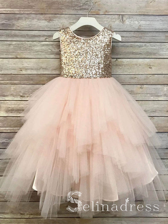 Sequin Top Flower Girl Glam Dress Blush Champagne Sequin Flower Girl Dresses GRS019|Selinadress
