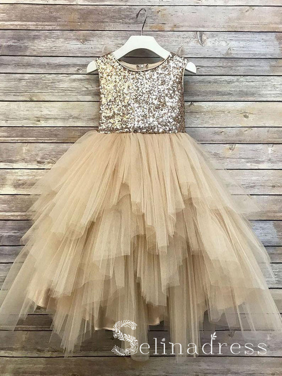 Sequin Top Flower Girl Glam Dress Gold Big Bow Flower Girl Dresses GRS019B|Selinadress