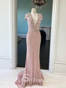 Sheath Pink V neck Long Prom Dresses With Sleeve Custom Beaded Evening Dress Formal Gowns SED144|Selinadress