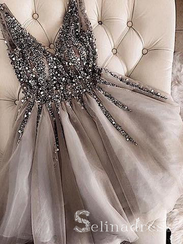 Silver V neck Sparkly Beaded Homecoming Dress Gorgeous Short Prom Drsess HML014|Selinadress