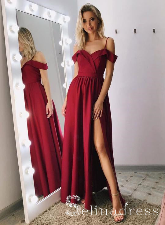 Simple Burgundy Off-the-shoulder Long Prom Dress Split Cheap Evening Dress SED134