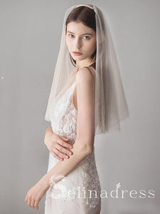 Simple Champagne Short Wedding Veils Blusher Veil ALC002