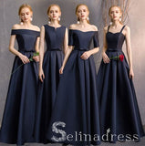Simple Navy Blue A-Line Princess Bridesmaid Dresses Backless Long Wedding Party Dresses BRK010|Selinadress