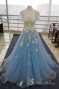 Sky Blue Tulle Cap Sleeve Lace Applique Long Prom Dress Quinceanera Evening Dress SED121|Selinadress