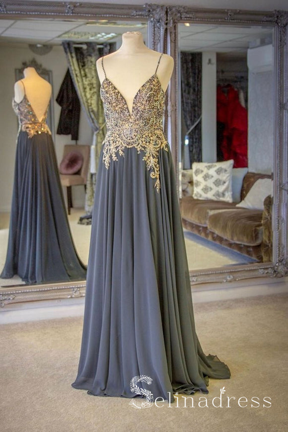 Spaghetti Straps A-line Beaded Long Prom Dresses Gray Formal Evening Gowns SED079|Selinadress