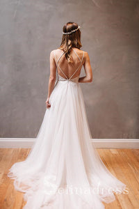 Spaghetti Straps Backless Rustic Lace Wedding Dresses Beach White Wedding Gowns SEW048