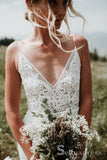 Spaghetti Straps Backless Wedding Dresses Rustic Lace Country Wedding Dress SEW049