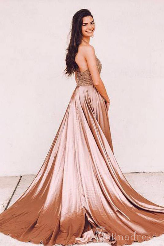 Spaghetti Straps Dusty Pink Long Prom Dress Cheap Beaded Evening Gowns #SED181