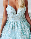 Spaghetti Straps Lace Prom Dresses Long Evening Gowns Mint Green Formal Dresses SED025
