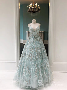 Spaghetti Straps Lace Prom Dresses Long Evening Gowns Mint Green Formal Dresses SED025|Selinadress
