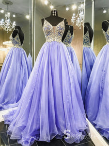 Spaghetti Straps Lilac Long Prom Dress Backless Beaded Prom Dress Evening Dress SED017