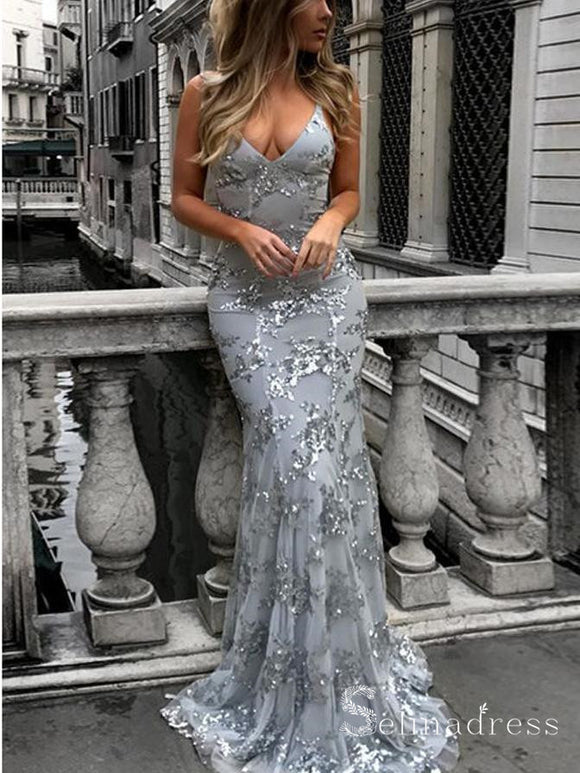 Spaghetti Straps Mermaid Silver Long Prom Dress Sequins Sparkly Evening Dress SED011|Selinadress