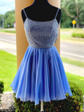 Spaghetti Straps Scoop Beaded Blue Chiffon Homecoming Dress #MHL081