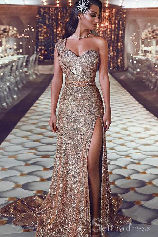 Sparkly African Prom Dress One Shoulder High Split Long Formal Evening Dresses #SED175|Selinadress