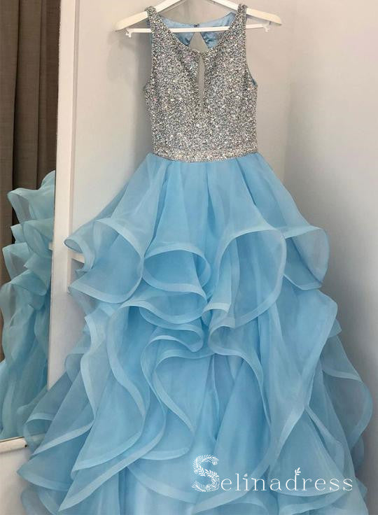 Sparkly Blue Beads Princess Prom Dress Multi-layered Long Formal Evening Dress SED123|Selinadress