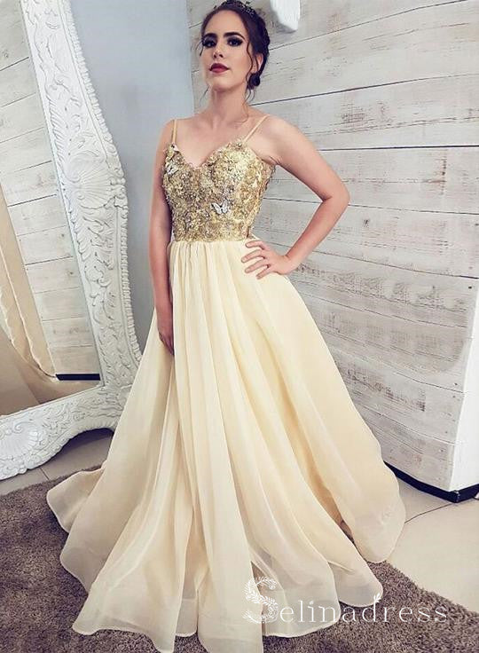 Sparkly Gold Spaghetti Straps Long Prom Dress Sequins Champagne Long Formal Dress SED124|Selinadress