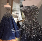 Sparkly Prom Dresses A-line Strapless Dark Navy Rhinestone Long Beautiful Prom Dress SED131