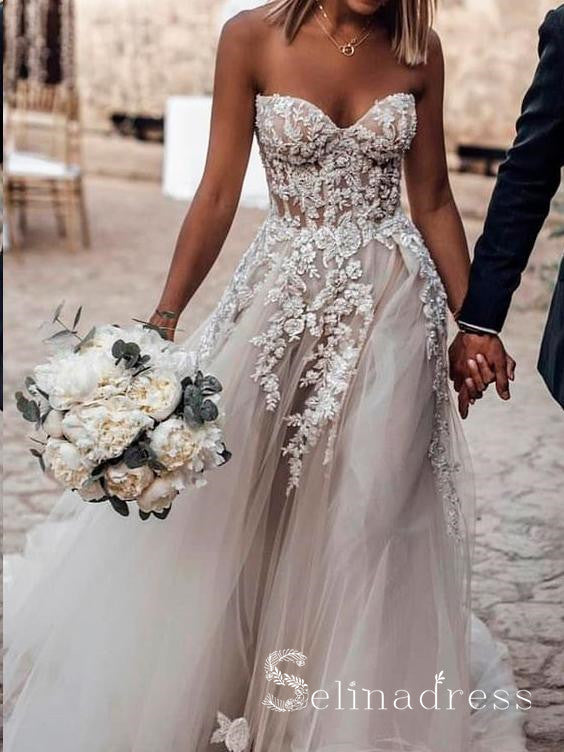 Sweetheart Appliqued Beach Wedding Dresses See Through A-line Rustic Bridal Gowns SEW011|Selinadress