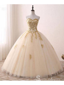 Sweetheart Ball Gown Princess Long Prom Dresses Gold Formal Gowns Evening Dress SED025