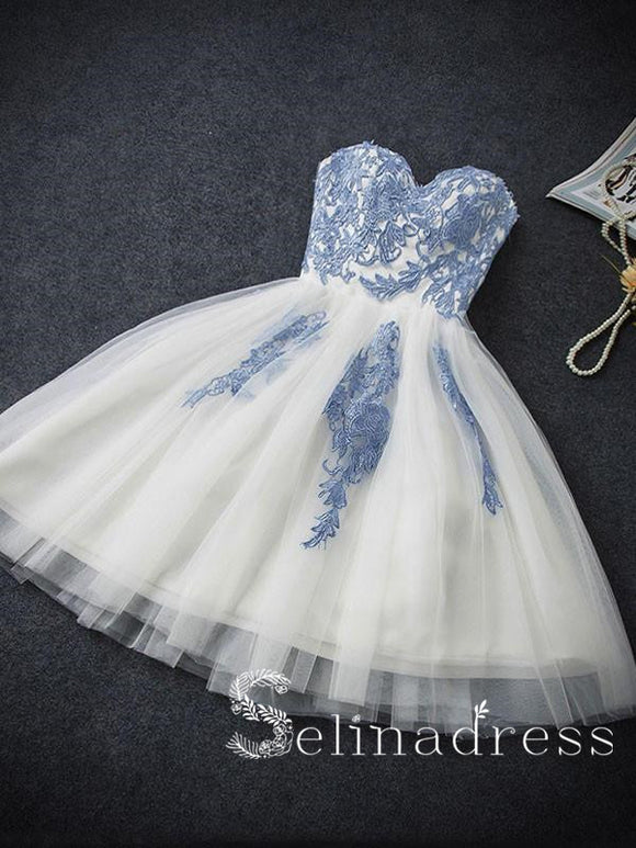 Sweetheart Elegant Homecoming Dress Tulle Blue Appliqued?Short Prom Dress On Sale HML004|Selinadress