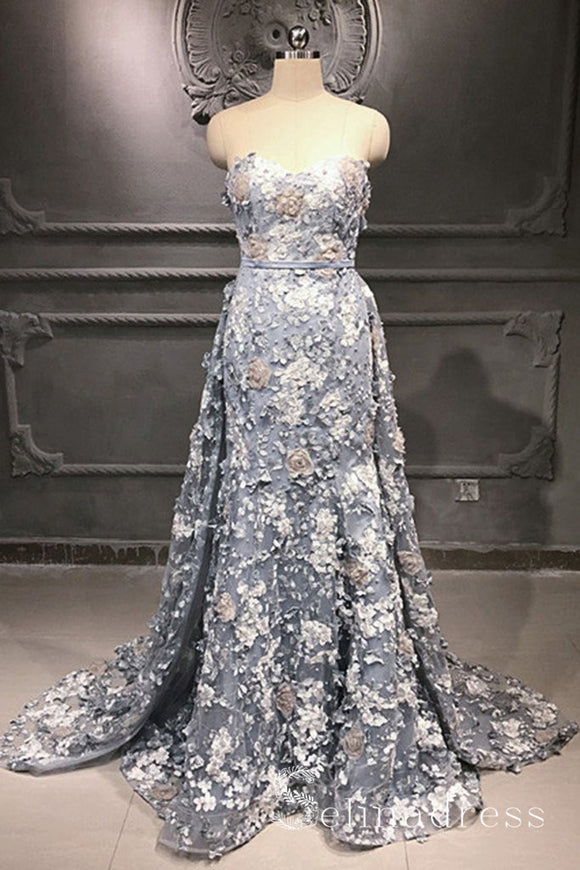 Sweetheart Gray Lace Removable Train Applique Prom Dresses 3D Flower Lace Evening Dress SED061|Selinadress