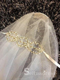 Traditional Drop Veil Blusher Wedding Veil with Crystal Headpiece ALC007