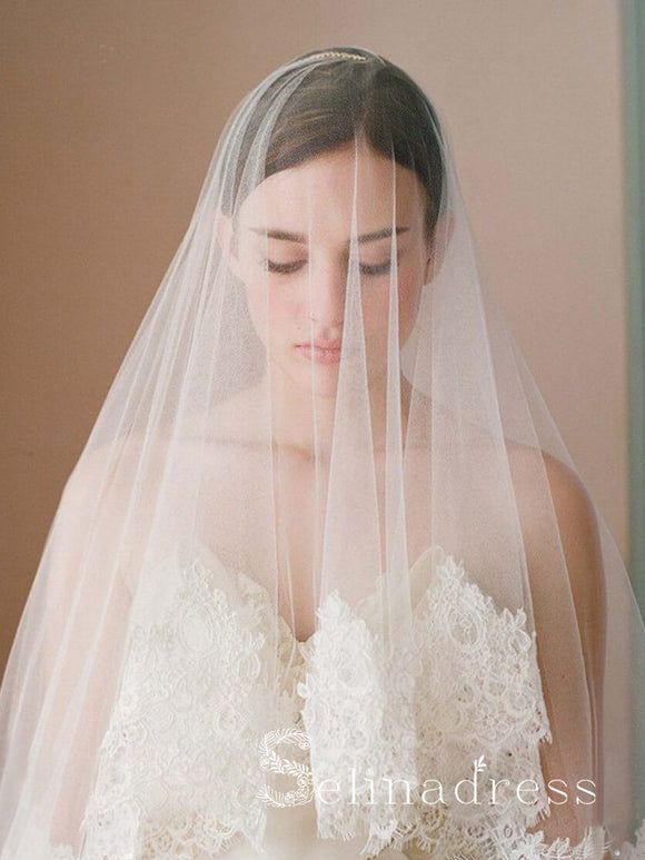 Traditional Drop Veils Ivory Tulle & Lace Wedding Veil ALC008