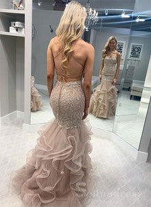 Trumpet/Mermaid Spaghetti Straps Lace Prom Dress Long Evening Dresses #SED170