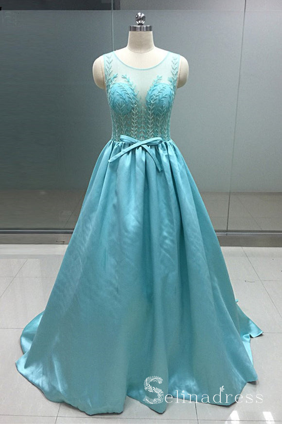 Turquoise Blue Satin Crystal Beaded Real Photo Long Senior Prom Dress Formal Gown SED120|Selinadress