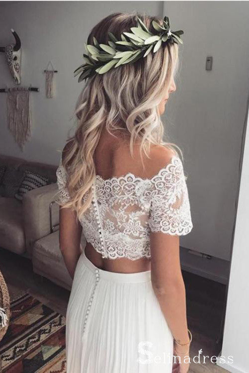 Two Piece Wedding Dresses Off-the-shoulder Short Sleeve Lace Wedding Gown SEW035|Selinadress