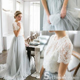 Two Piece Wedding Dresses With Sleeve A-line Sweep Train Lace Bridal Gown SEW040|Selinadress