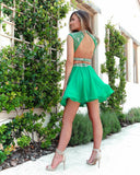 Two Pieces Cap Sleeve Green Beaded Homecoming Dress Short Prom Dresses MHL111