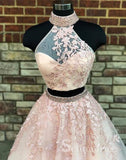 Two Pieces High Neck Long Prom Dresses Applique Pink Lace Quinceanera Formal Dress SED096
