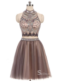 Two Pieces Homecoming Dress High Neck Beaded Short Prom Dress MHL050|Selinadress