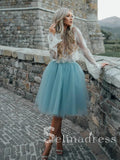 Two Pieces See through Lace Homecoming Dress With Sleeve Short Prom Drsess HML007|Selinadress