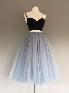 Two Pieces Spaghetti Straps Homecoming Dress Gray Cheap Short Prom Drsess #MHL061|Selinadress