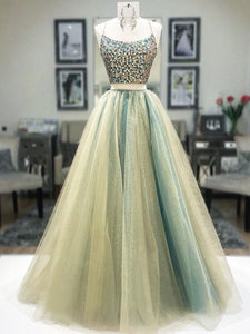 Two Pieces Spaghetti Straps Long Prom Dress Beaded Modest Cheap Evening Dress SED495|Selinadress
