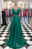 Two Pieces Spaghetti Straps Prom Dresses Cheap Simple Long Formal Evening Gowns SED118|Selinadress