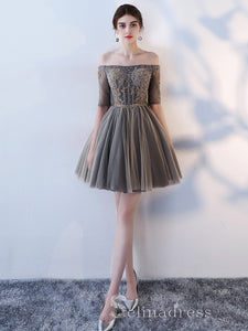 Unique Off-the-shoulder Cute Short Ptom Dress Homecoming Dresses MHL033