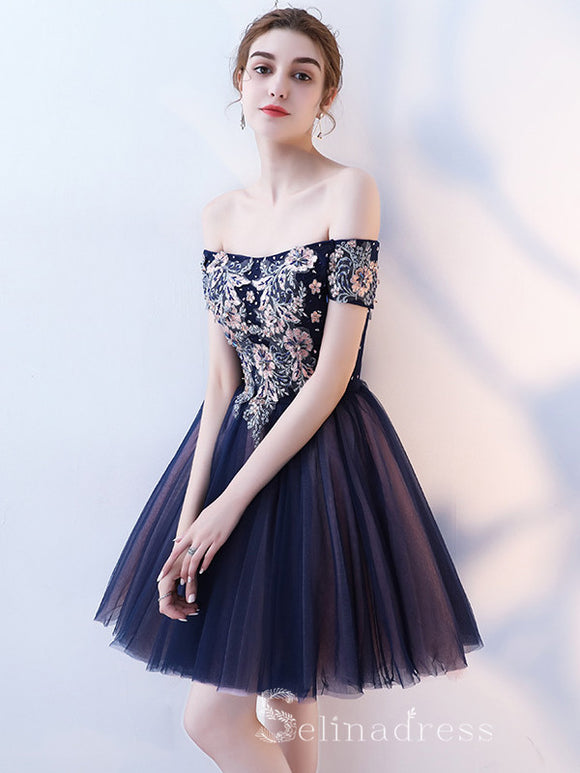 Unique Off-the-shoulder Dark Navy Cute Short Ptom Dress Homecoming Dresses MHL034