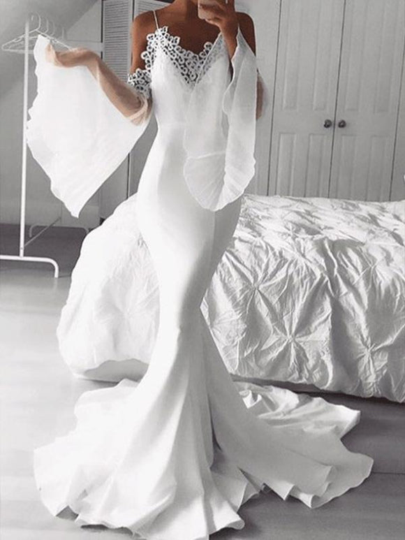 Unique Spaghetti Straps White Prom Dress with Sleeves Mermaid Long Formal Evening Dress #SED188 | Selinadress